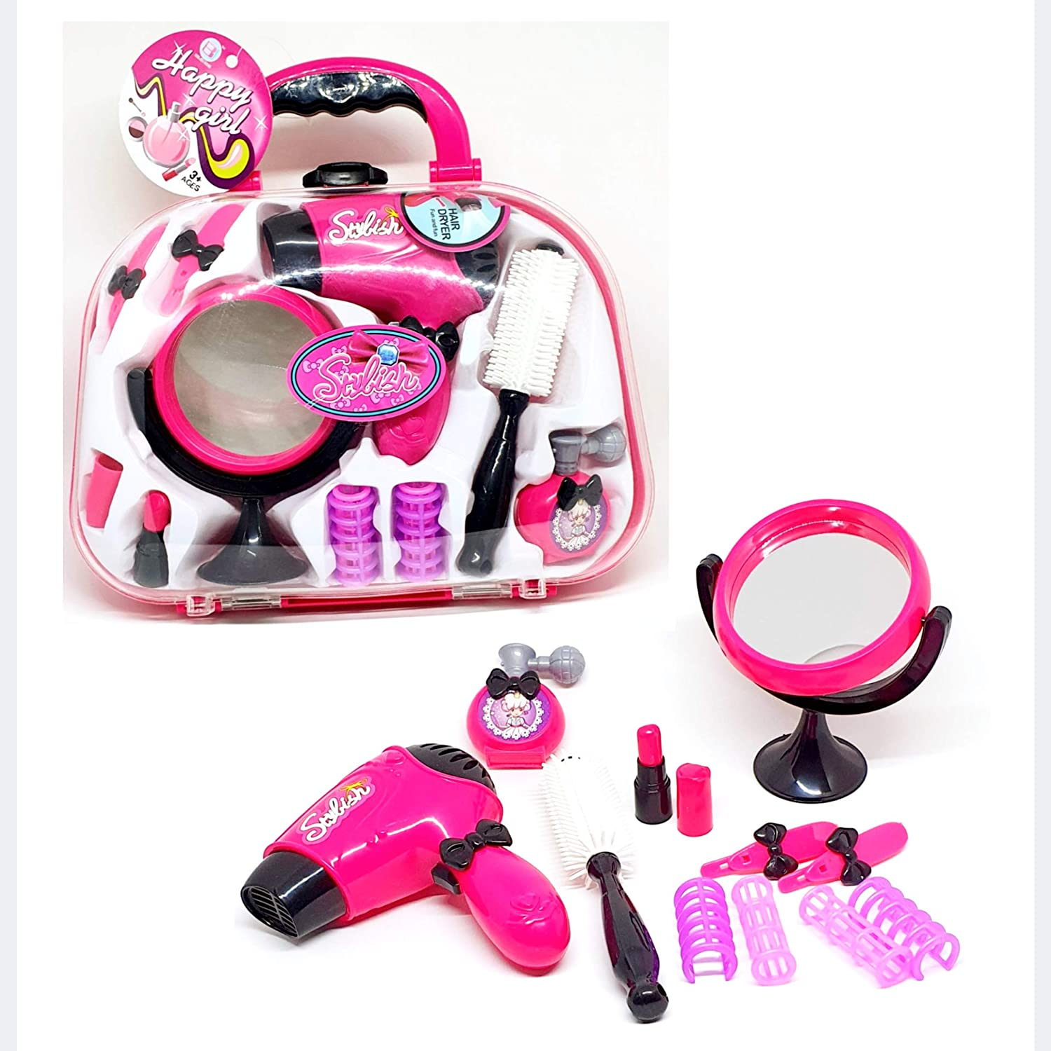with non-glass mirror and battery-operated hair dryer all in a portable carry case Coolstuffx Pretend Hairdressing and Beauty Set for Girls