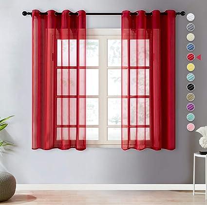 topfinel lot de 2 rideaux voilage rouge 140x145 cm a oeillets en lin imitation voilage fenetre transparent pour salon voilage petite largeur decor
