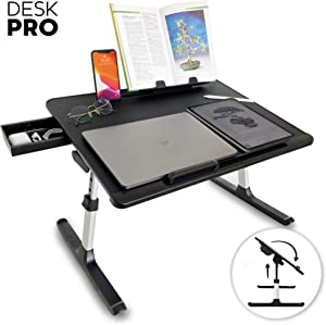 Cooper Desk PRO [XL Adjustable Folding Laptop Desk] - Height & Tilt Angle | Leather Top for Work, Study, Bed | Reading Stand, Drawer (Midnight Black)