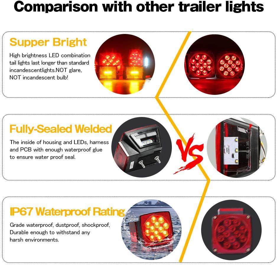 Square trailer light kit Boat Trailer Light Kit Waterproof 12V for Submersible Heavy Duty Utility Led Trailer Lights