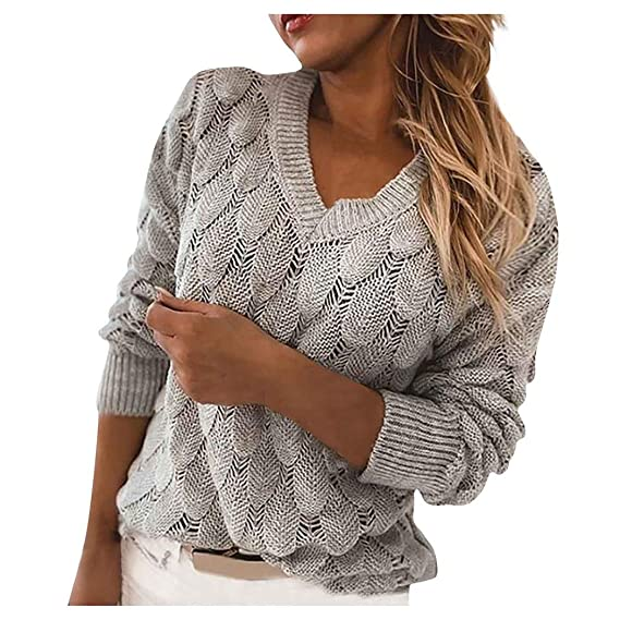 Buy Womens Fashion Sweater V-Neck Color Feather Hollowing Out Sexy Long Sleeves Sweater Tops at Amazon.in