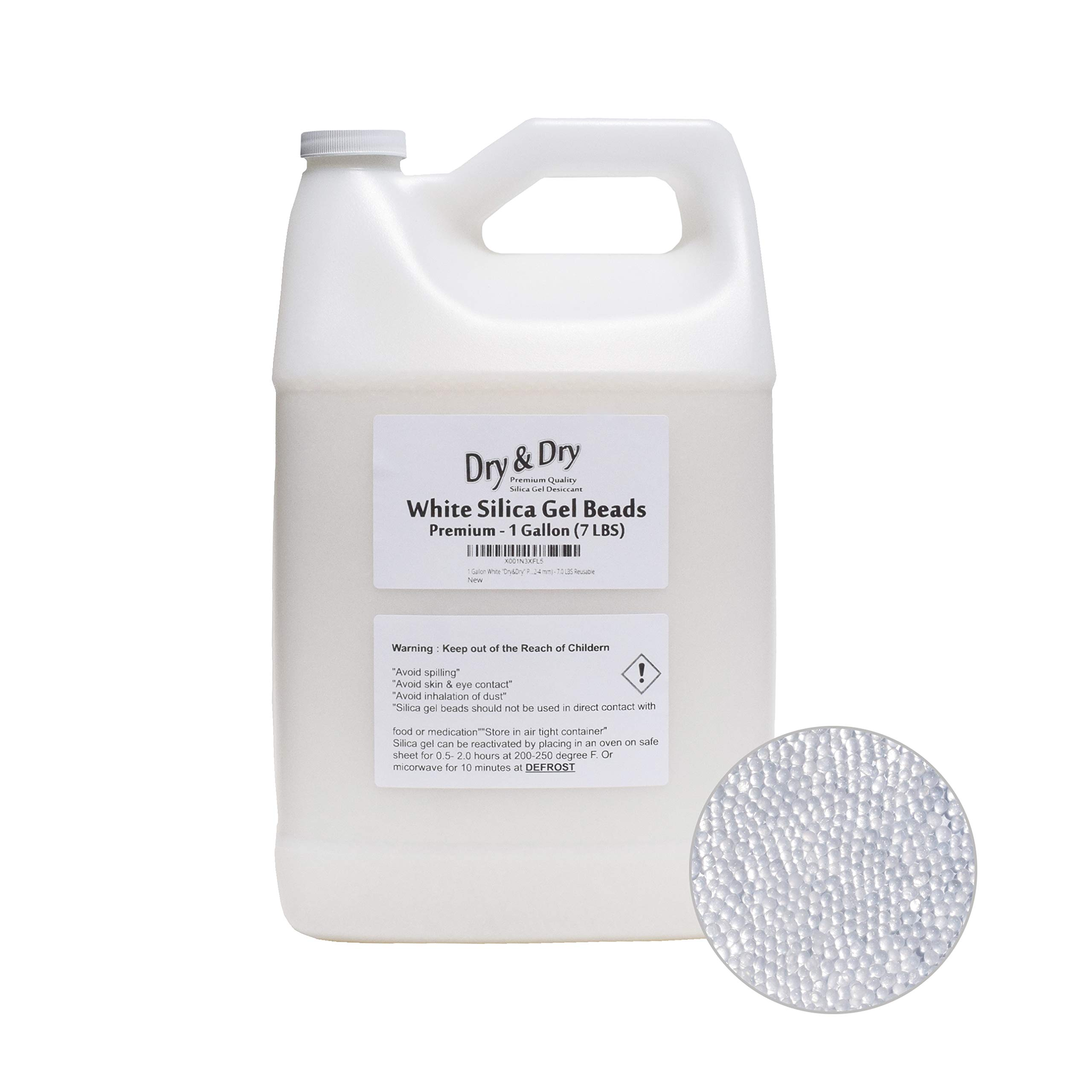 Dry & Dry [7 LBS Premium Pure & Safe White Silica Gel Desiccant Beads(Industry Standard 2-4 mm) - Rechargeable Silica Beads