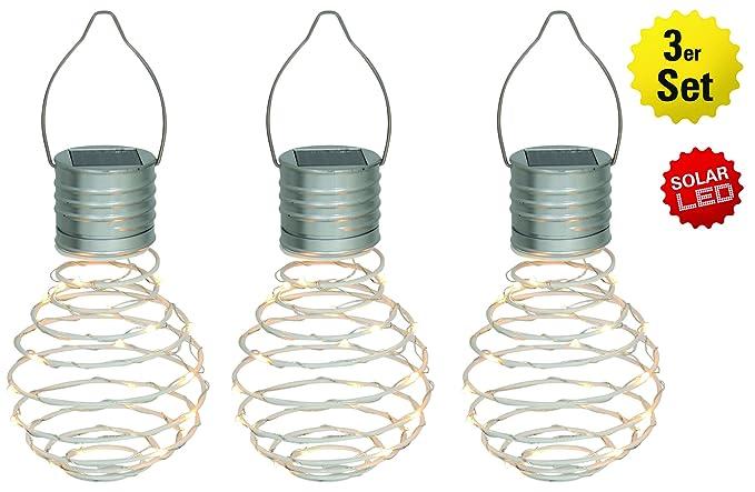 Näve Leuchten Juego de 3 – Lámpara solar decorativa (Almeria color blanco, Metal,