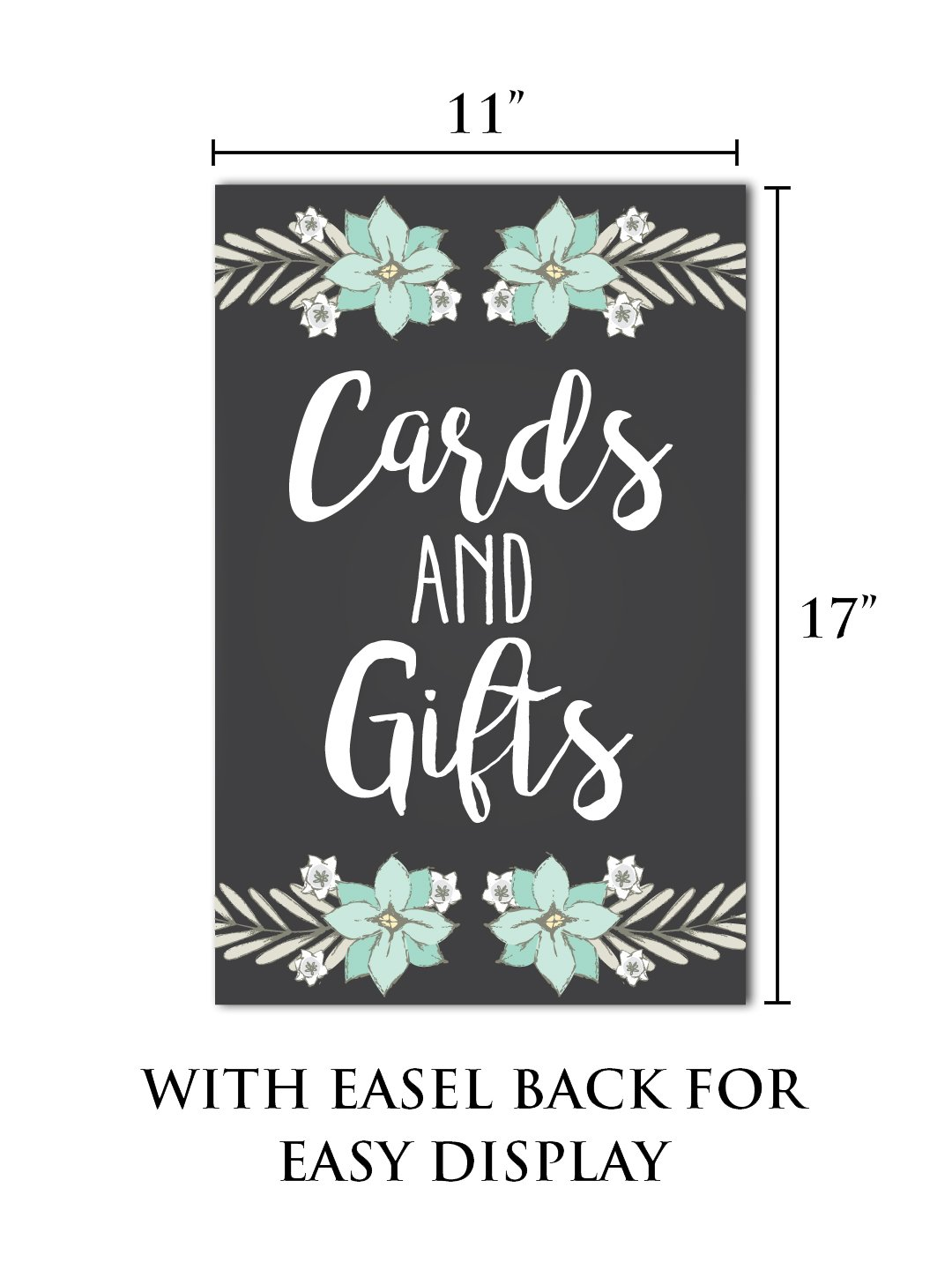 WEDDING CARDS AND GIFTS SIGN Thank You Sign for Wedding Reception Premium Wedding Sign With Easel Back