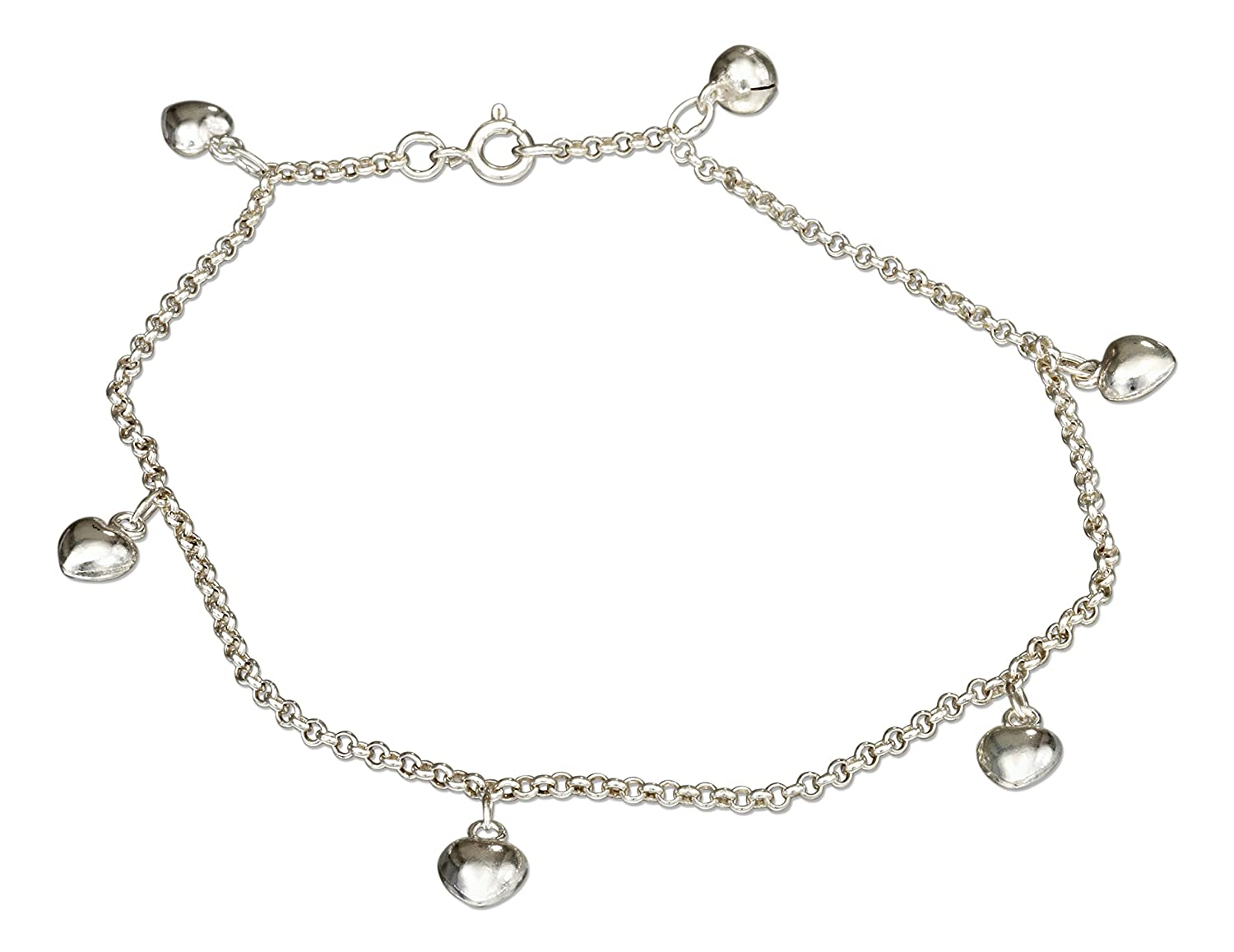 742cb6a3f2e Sterling Silver 10 inch Puffed Heart Dangle Ankle Bracelet with Chime Ball