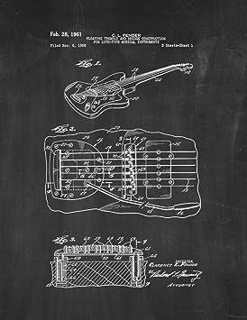 9db51604bc38d Guitare avec trémolo brevet Art tableau (8,5