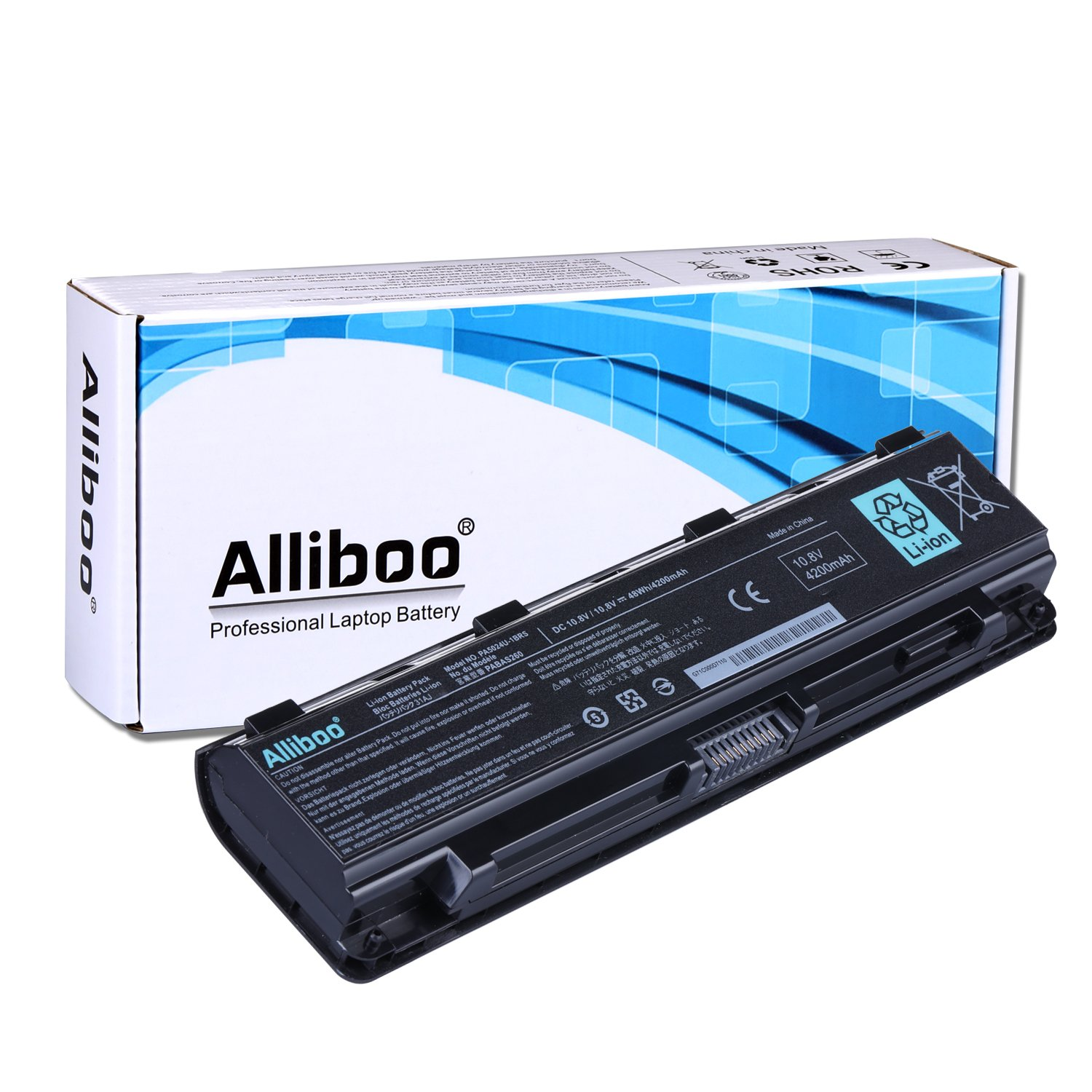 Alliboo High Performance Laptop Battery for Toshiba PA5024U-1BRS PA5023U-1BRS PA5025U-1BRS PA5026U-1BRS PA5027U-1BRS PA5109U-1BRS PABAS260, Fit with Satellite C50 C55 C800 C805 C845