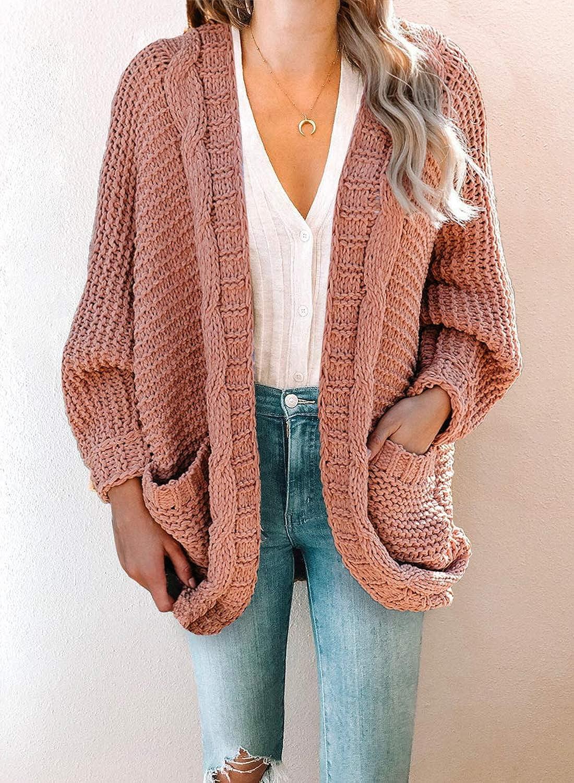 Warm Winter Cardigan Loose Knitted Coat Jacket Women Chunky Sweater Plain Jumper