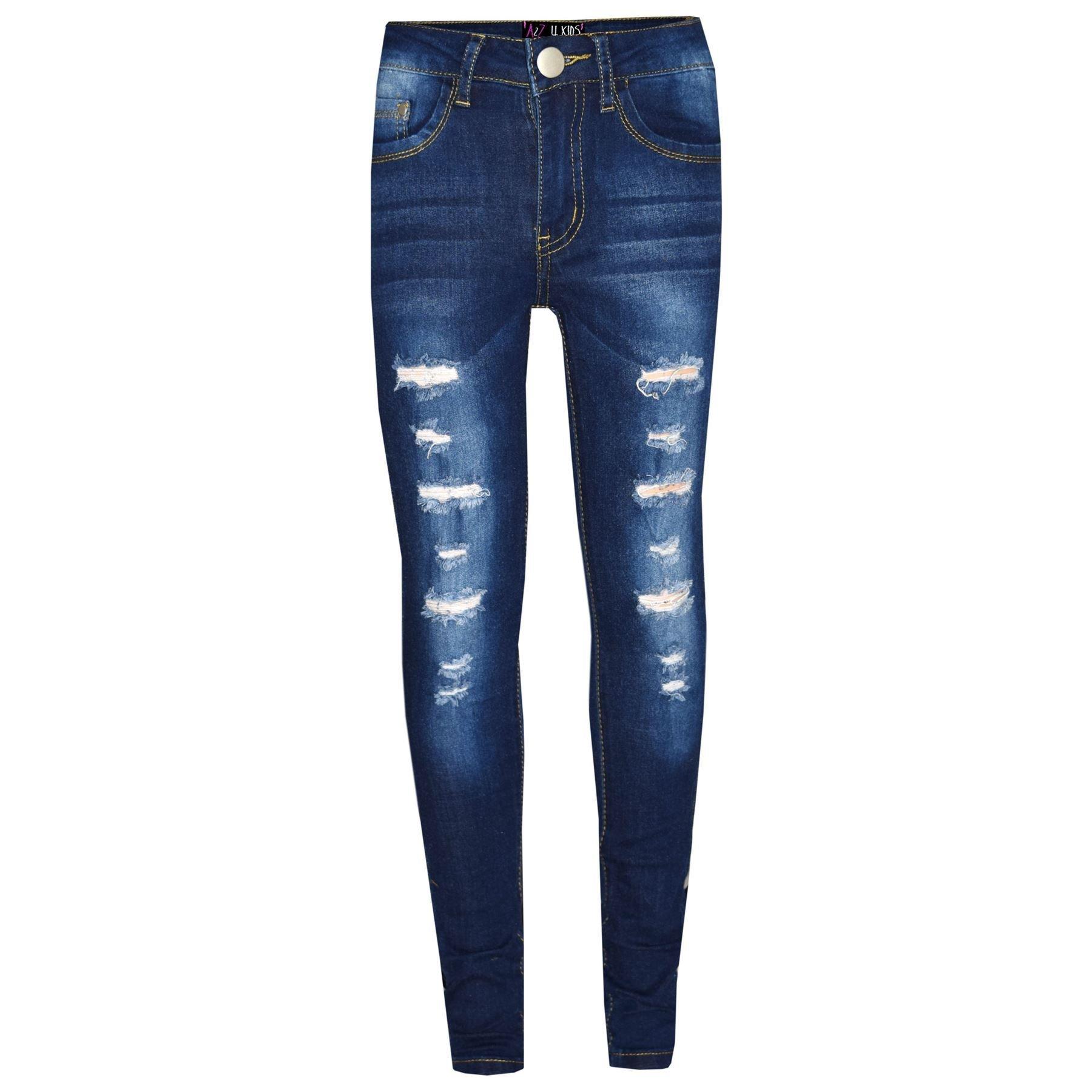 Kids Girls Skinny Jeans Denim Ripped Stretchy - Girls Jeans M617 Dark Blue 11-12 by A2Z 4 Kids