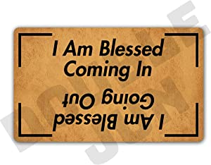 DoubleJun I Am Blessed Coming in and Going Out Floor Rug Indoor/Front Door Mats Home Decor Machine Washable Rubber Non Slip Backing 29.5