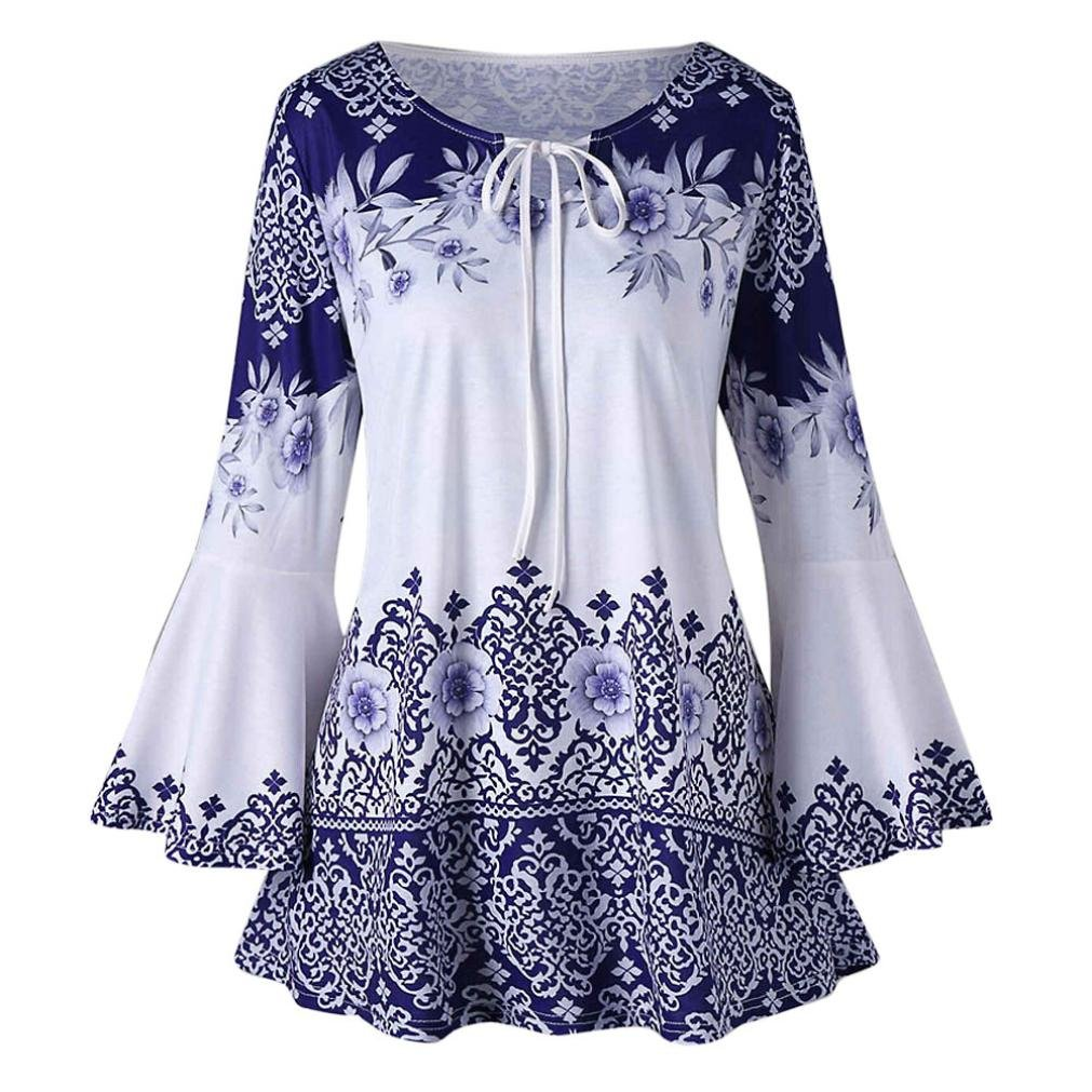 Clearance Fashion Plus Size Clothing for Women - vermers Womens Printed Flare Sleeve Tops Blouses Keyhole T-Shirts(2XL, Blue)