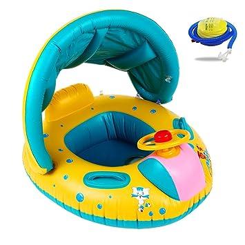 Kyerivs Flotador para bebé,6-36 Meses BebéFflotador de Seguridad Anillo de Natación Bebé Niños Hinchable Natación Agua Flotador Anillo de Natación con Toldo ...