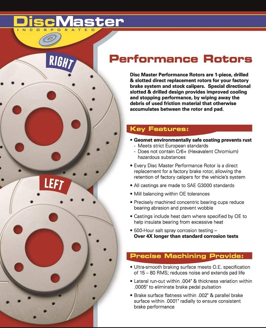 Front and Rear Premium Anti Rust Geomet Coated Drilled and Slotted Brake Rotors MAXJ27366RDS