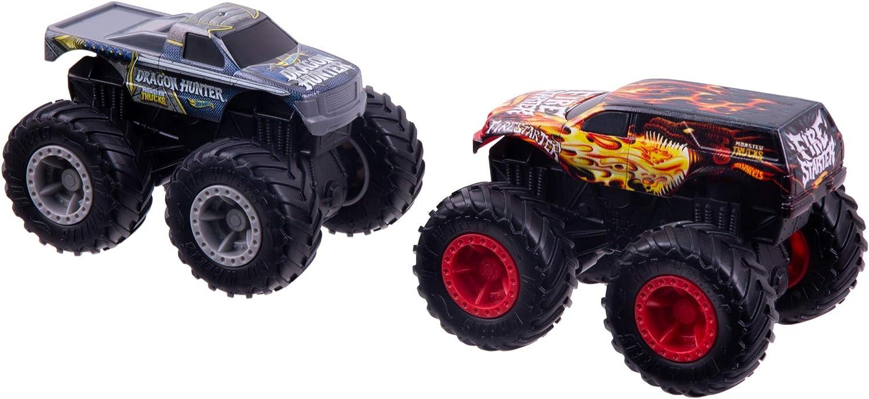 Amazon Com Hot Wheels Monster Trucks Rev Tredz Dueling Doubles Fire Starter Vs Dragon Hunter Vehicles Toys Games