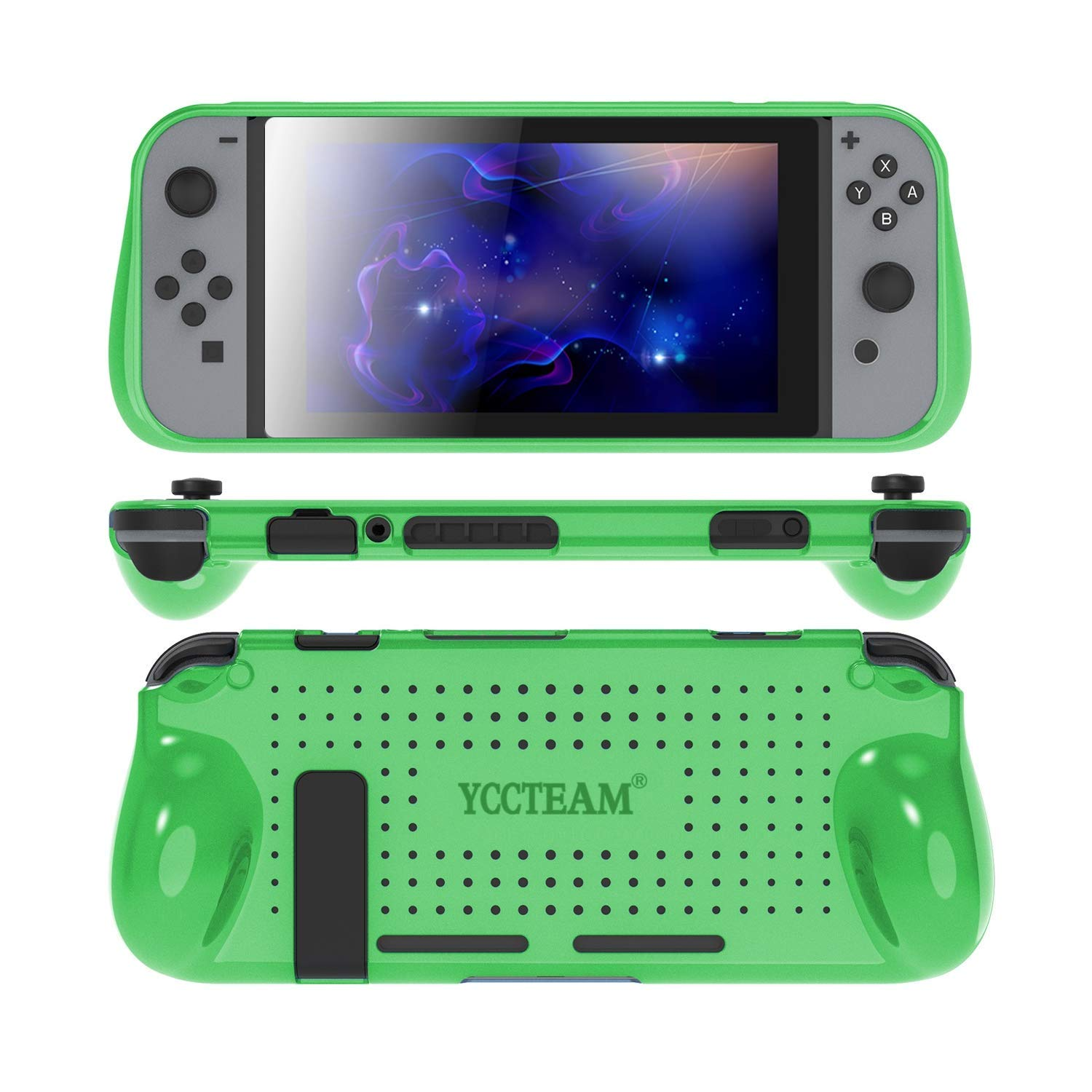 Protective Case for Nintendo Switch, Comfortable Soft TPU Full Body Protection Shock Absorption Heat Dissipation Design Cover Case for Nintendo Switch (Green)
