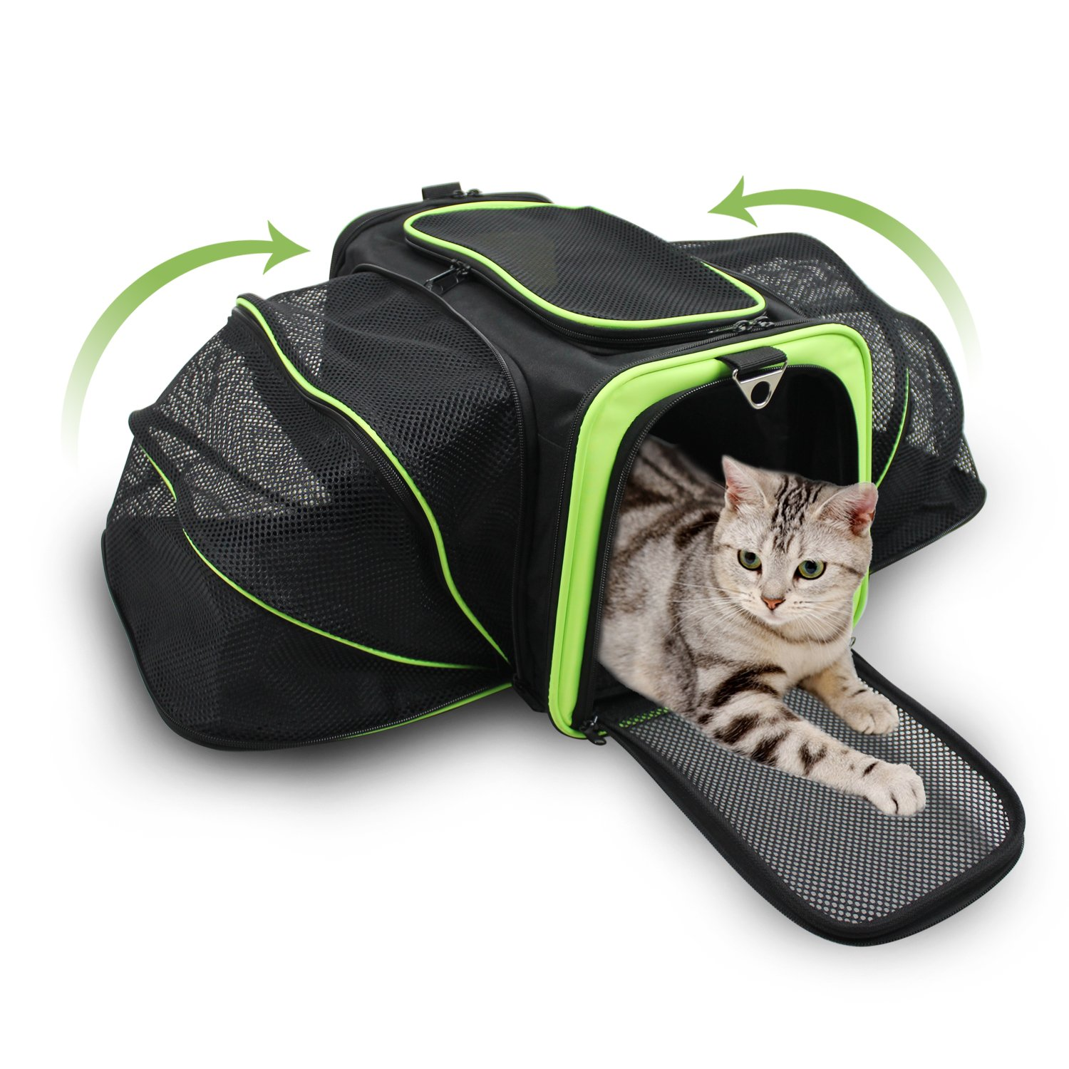 Jespet Expandable Airline Approved Pet Carrier with with Fleece Mat by, Foldable Soft Sided Travel Dog Carrier for Cats Kitten Puppy (16'' L x 9'' W x 9'' H, Black + Neon Green) by Jespet (Image #3)