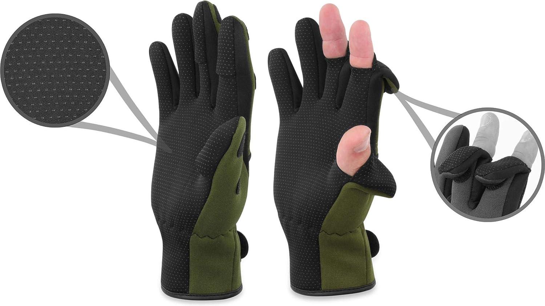 und Winddicht Wasser normani Anglerhandschuhe aus 3mm Titanium Neopren mit umklappbaren Fingerkuppen und rutschfesten Handinnenfl/ächen S-4XL