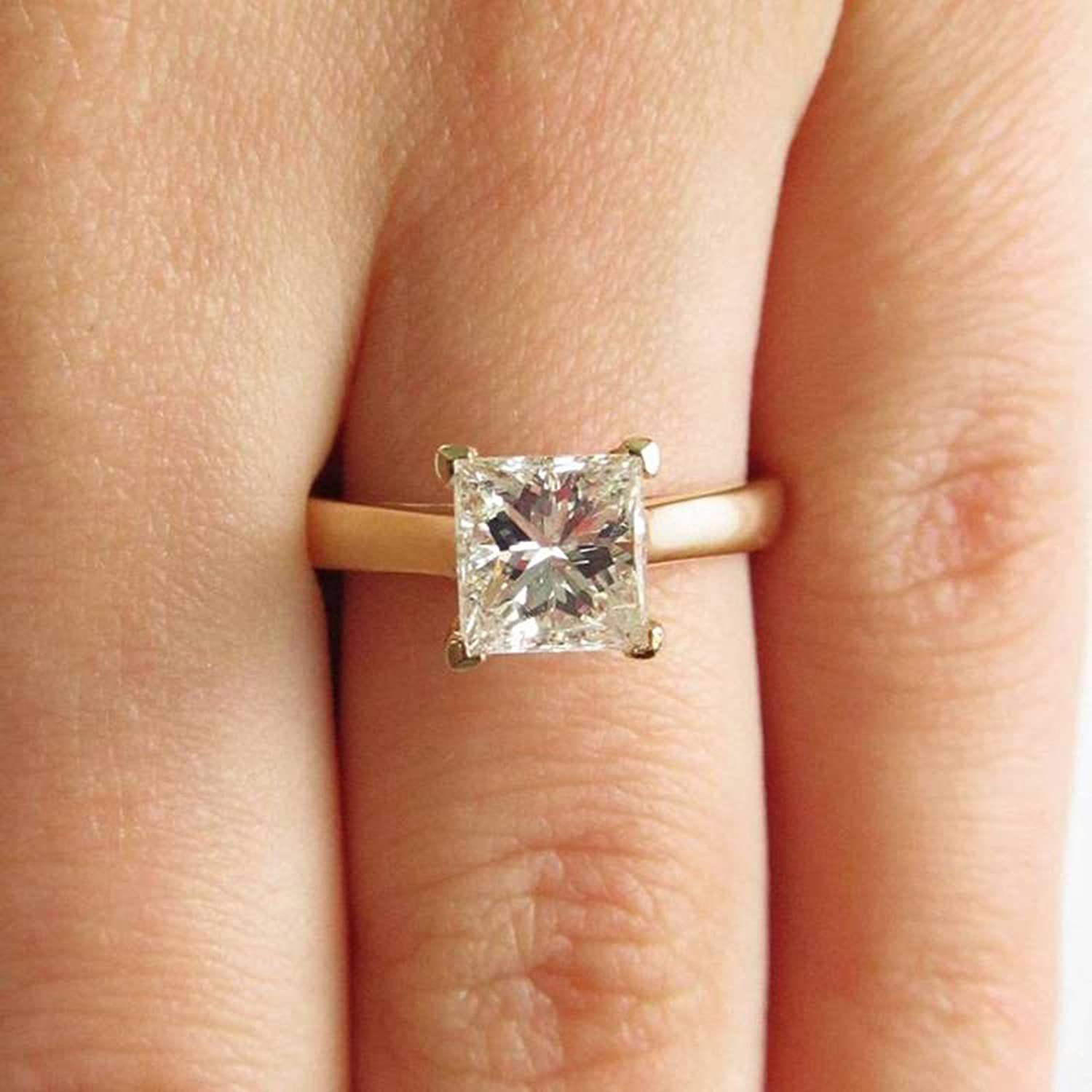 1.50 ct Princess Cut Canary Yellow Simulated Diamond Classic Wedding Engagement Bridal Promise Designer Ring Solid 14k Yellow Gold