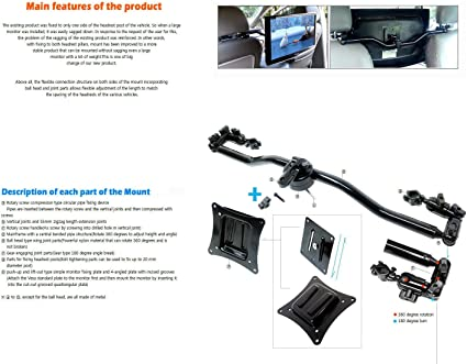 Two-way fixing headrest mount monitor mount TV mount with a lift-off type plate