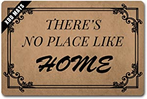 Xdd Funny Entrance Floor There's No Place Like Home Doormats Carpets for Kitchen Bedroom Rubber Home and Office Decorative Indoor/Front DoormMats Rubber Non Slip 23.6x15.7 Inch