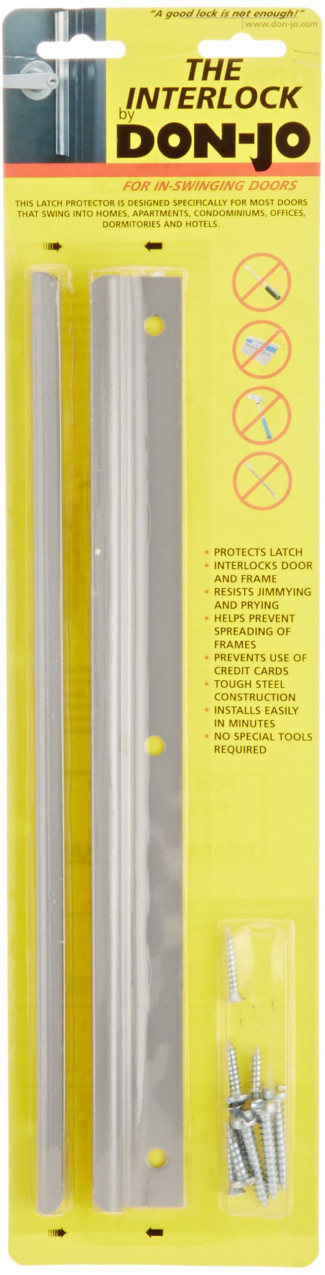 Don-Jo ILP 212 14 Gauge Steel Inswinging Door Interlock Latch Protector, Silver Coated, 12'' Height (Pack of 10)