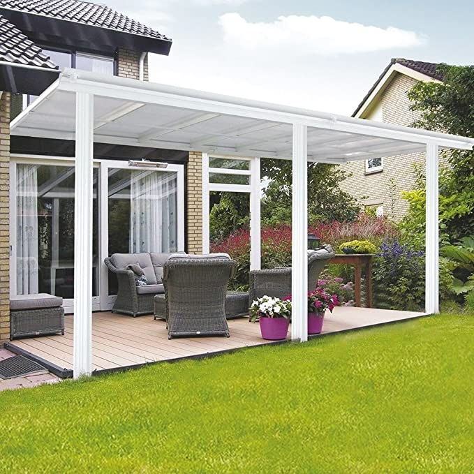 Techo de aluminio para terraza, 557 x 303 cm, grosor de 6, 6 mm, 100 % resistente a los rayos UV, placas huecas de cámara hueca, toldo de pérgola para porche, terraza,