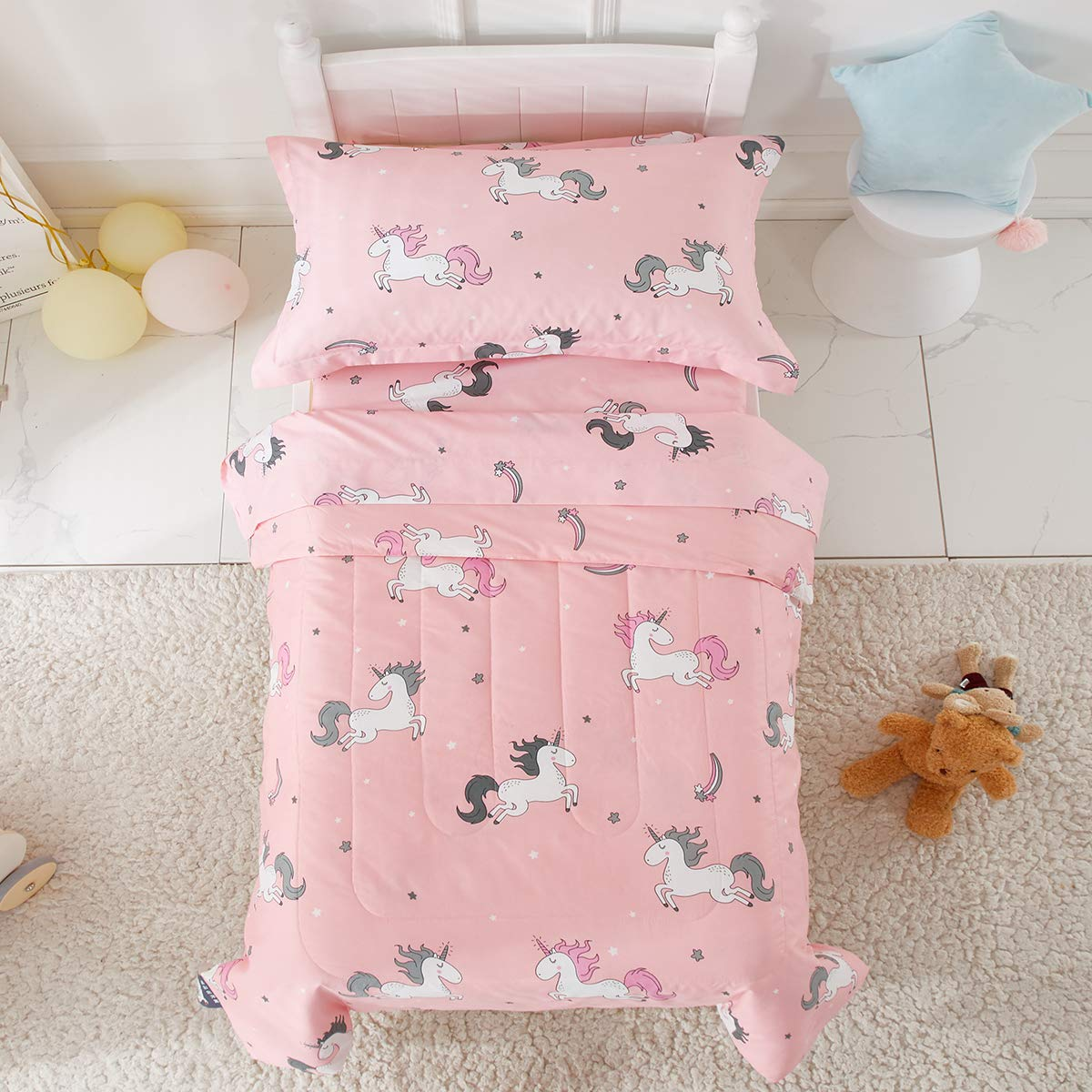 Uozzi Bedding 4 Piece Unicorn Toddler Bedding Set with Rainbow Stars Pink - Includes Adorable Quilted Comforter, Fitted Sheet, Top Sheet, and Pillow Case - Cute Design for Girls Bed by Uozzi Bedding