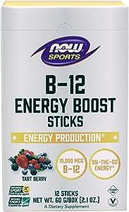 NOW Sports Nutrition, B-12 Energy Boost Sticks, 10,000 mcg, On-The-Go-Energy*, Energy Production*, 12-Sticks