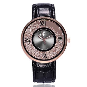 naivety Women Fashion Quicksand Bead Watches Casual Ladies Dress Rhinestone Dial Leather Analog Quartz Wrist Watches