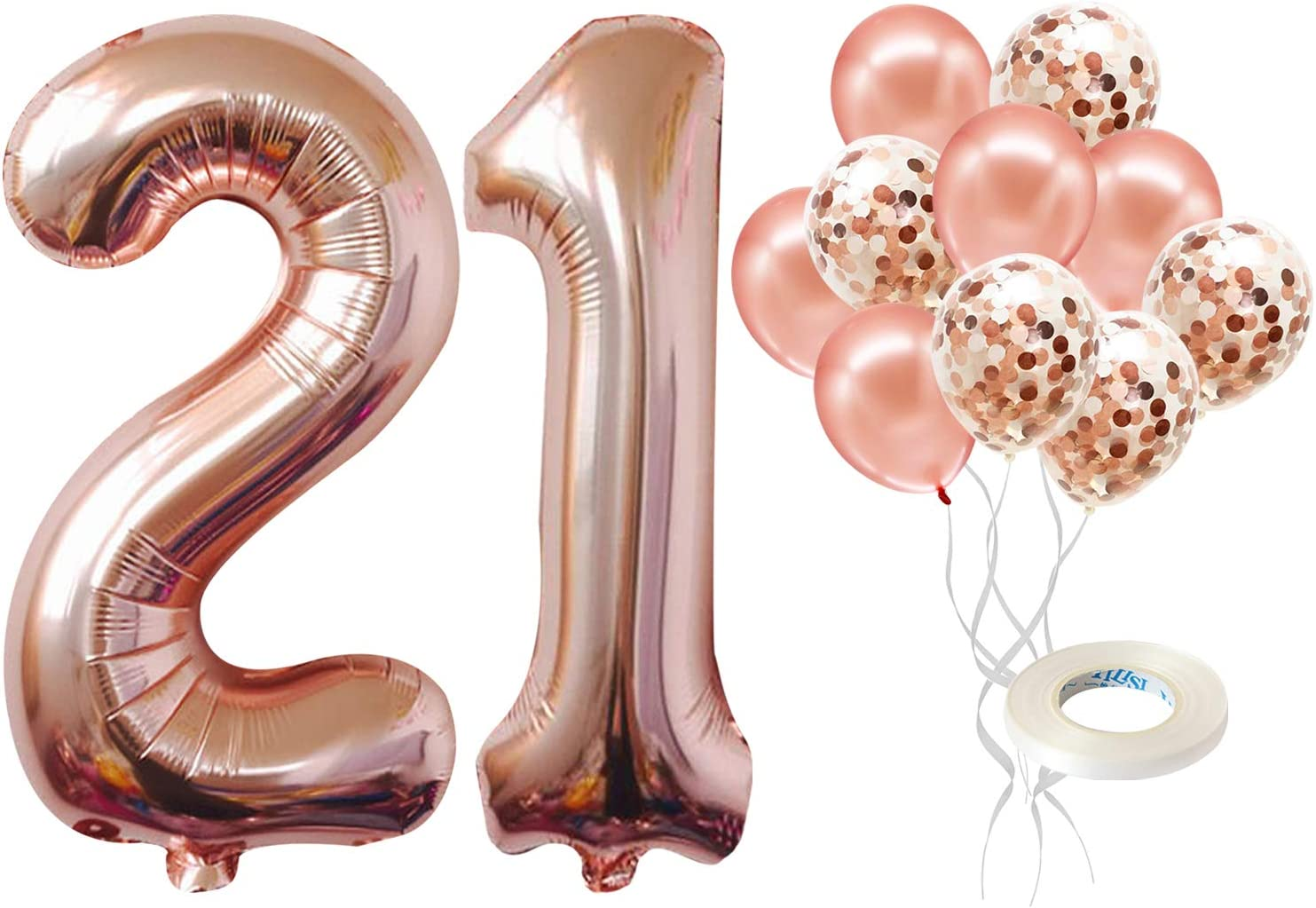 Number 21 Birthday Balloons, Rose Gold - 21 Birthday Decorations | 21st Birthday Balloons Foil Mylar Rose Gold Balloons for Rose Gold Party Supplies | 21 Birthday Party Decorations with 32 Foot String