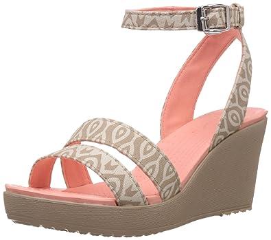 03ff605ad1f675 crocs Women s Leigh Graphic W Wedge Sandal