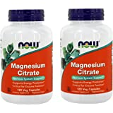NOW Magnesium Citrate 400 Milligram 120 Veg Capsules, 2 Pack