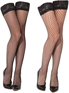 df99005df2e Womens Black Sheer Thigh High Fishnet Stockings with Silicone Lace Top 2  Pairs