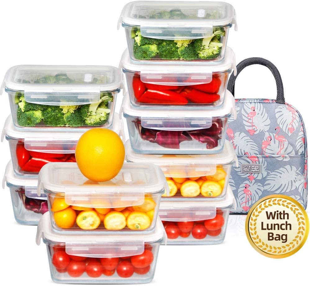 (10 Pack, 36.8oz) DAS TRUST Meal Prep Containers with Lunch Bag Stackable Glass Food Storage Containers Bento Boxes with Leakproof Locking Lids, No BPA, Oven Microwave Freezer Dishwasher Safe