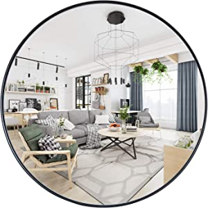 "Geloo Black Wall Mirror Round- 24"" Circle Mirror,Accent Mirror,Modern Brushed Metal Frame Mirror for Wall-Mounted Mirror for Bedroom,Vanity Washrooms,Living Room,Entryway,Hallway,Locker Room"