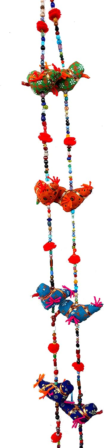 Door Hanging Decorative Cotton Birds in Vibrant Color Stringed with Beads and Bell !! 5-Bird Bell Tota Traditional Indian Hanging Decoration 2 Layer