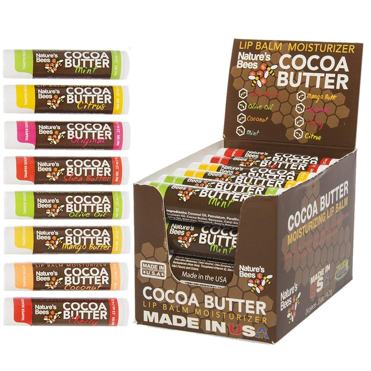 Nature's Bees Set of Two 24 Packs Cocoa Butter Lip Balm Tubes Moisturizer Chap Treatment (Assorted 8 Flavors, 6 of Each)