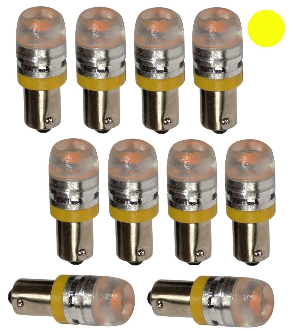 luz de matricula luces umbrales de puertas AERZETIX: 10 x Bombillas T4W T5W BA9s 12V LED HIGH POWER 1.5W amarillo para iluminacion interior del compartimiento del motor y del maletero luz del techo