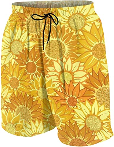 Kidhome Teenagers Boys Beach Board Shorts Autumn Maples Summer Drawstring Beach Shorts Swim Trunks with Pockets for Teen Boys