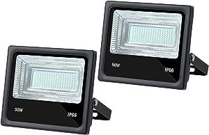 2 PCS DC 12V LED Flood Light 50W 4500lm 3000K Warm White Outdoor Security Floodlight Lamp, IP65 Outside Waterproof
