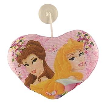 Princesas Disney - Cojín Peluche Corazón Rosa - Aurora y Bella