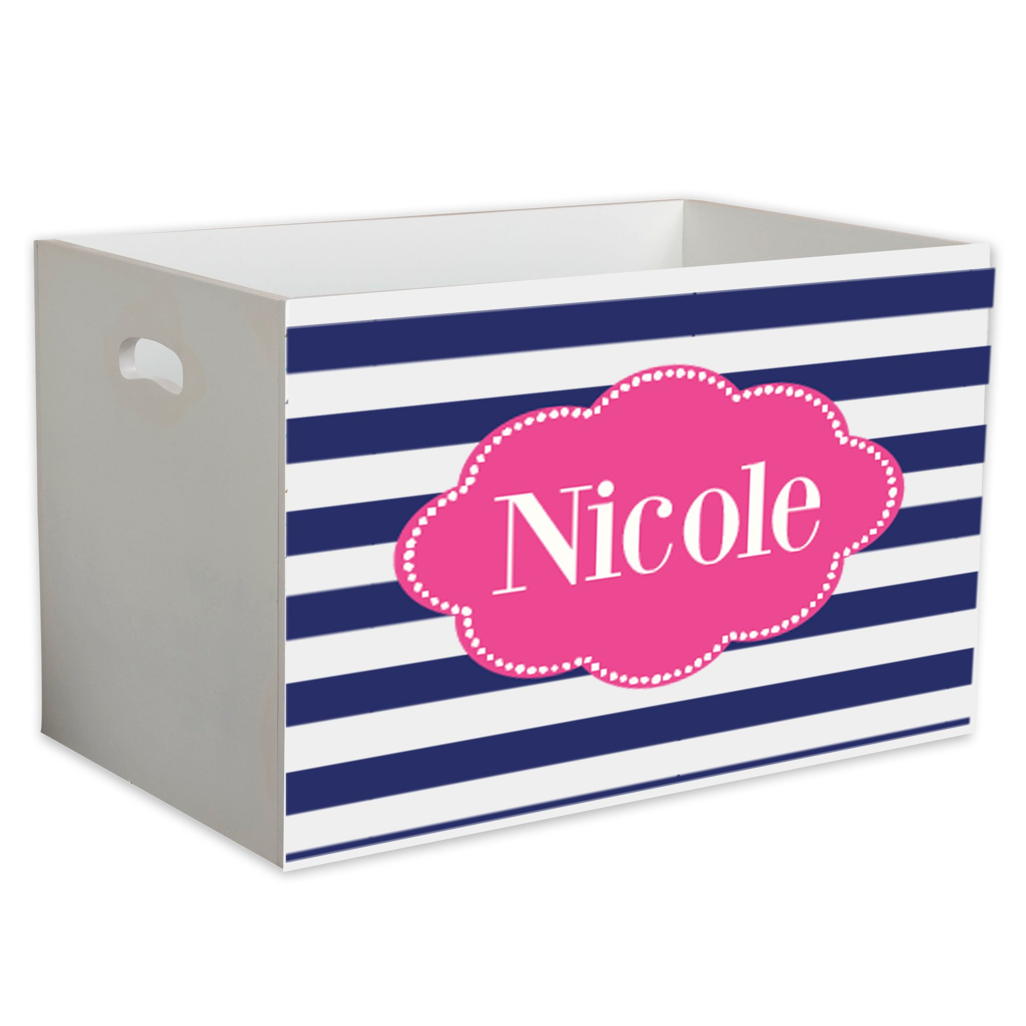 Personalized Blue Stripes w Hot Childrens Nursery White Open Toy Box