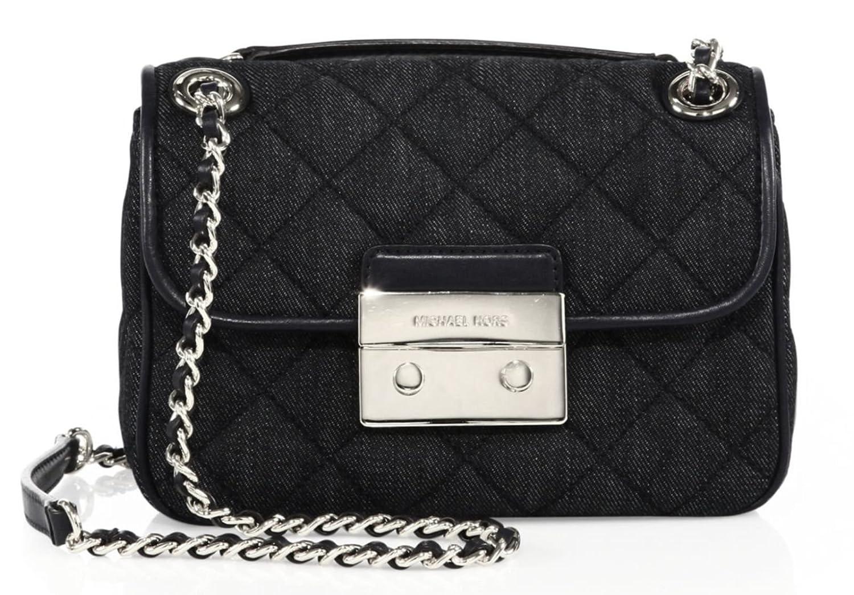 6fc3a68a5cba5 Michael Kors Sloan Dark Denim Shoulder Bag Silver New Bag  Handbags   Amazon.com