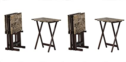 Amazon Linon Home Decor Tray Table Set Faux Marble Brown