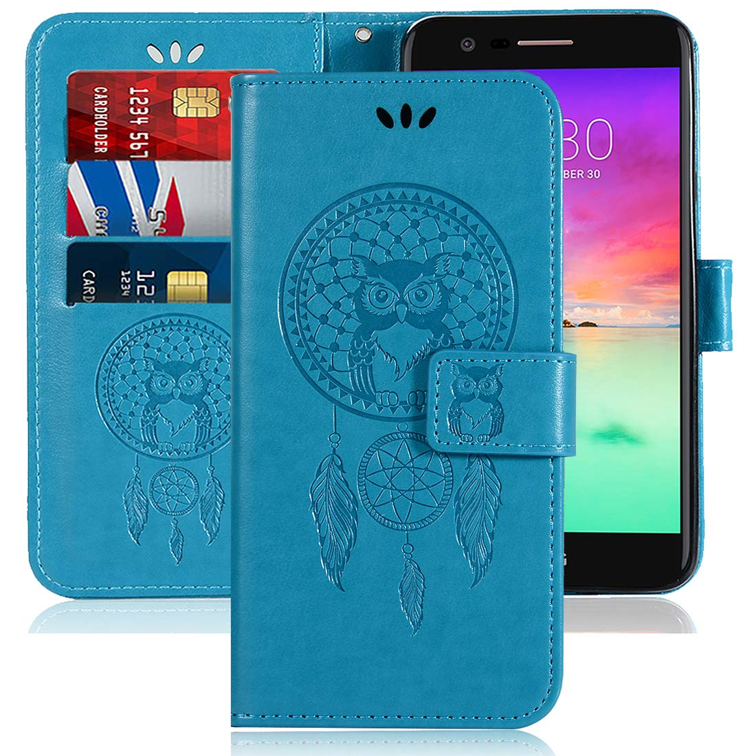Sidande LG K20 V/LG K20 Plus/LG Harmony/LG Grace/LG V5 / K10 2017 Case, [Wrist Strap] Owl PU Leather Wallet Flip Protective Phone Case Cover with Card Slots for LG K10 2017 (Blue)