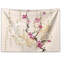 ABAKUHAUS Japonés Tapiz de Pared y Cubrecama Suave, Cartas Sakura Flores, Objeto Decorativo Lavable, 150 x 110 cm…