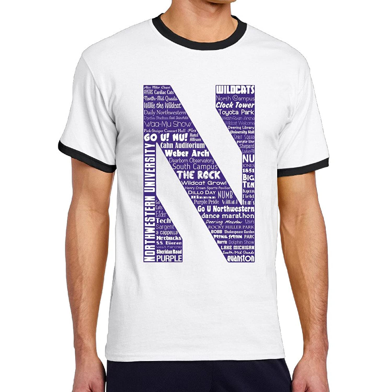 WG Men's Two-toned T-shirt-Funny Northwestern University NU Wildcats Black