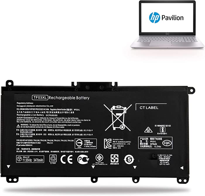 TF03XL Battery TF03041XL for HP Pavilion 15-CC 15-CD Series:15-cc154cl 15-cc060wm 15-cc152od 15-cc055od 15-cd040wm;17-AR007CA 17-AR050WM 920046-121 421 541 920070-855 HSTNN-IB7Y LB7J LB7X UB7J