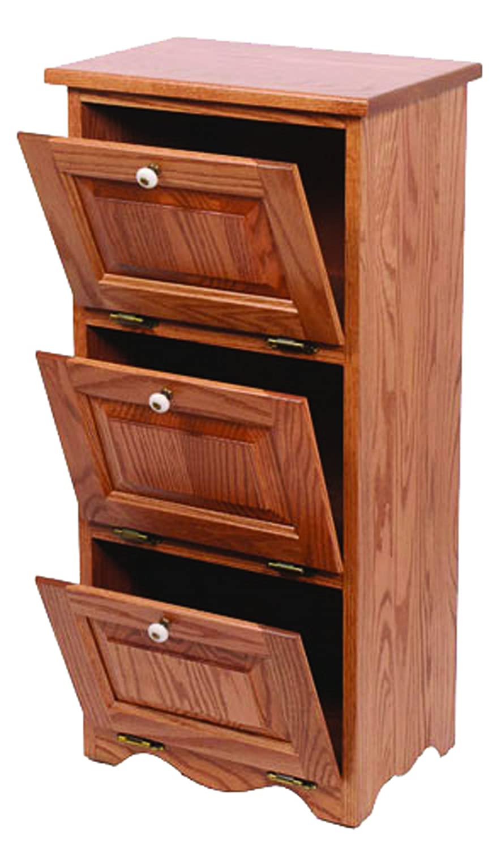Oak 3 Door Vegetable Bin - Amish Made in USA Furniture Barn USA