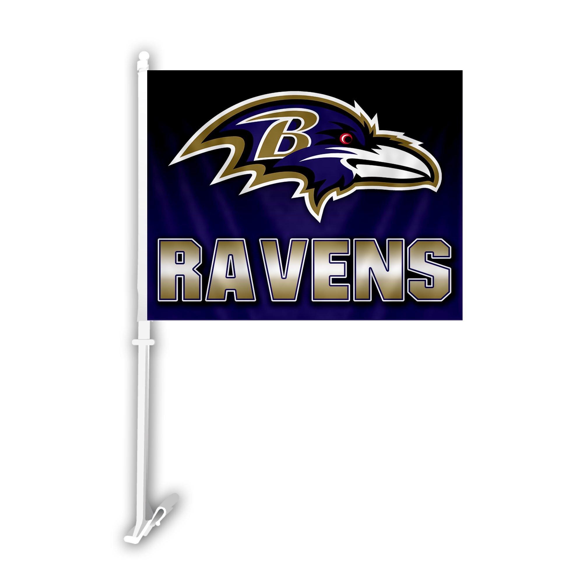 NFL Baltimore Ravens Car Flag with Wall Bracket, Team Color